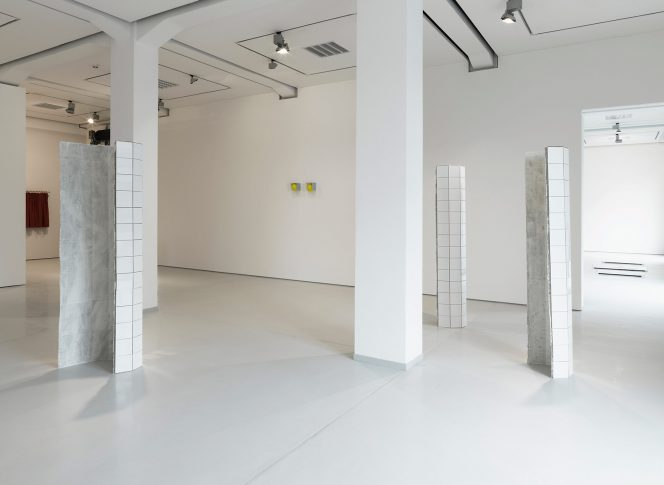 3 Upright 2nd cycle 2012 – ongoing. Installation view at start and end of the exhibition <i>Vom Eigensinn Der Dinge</I>, curated by Julia Höner, Kai 10, Düsseldorf, April-July 2013
