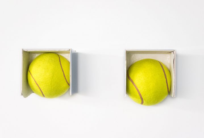 Bettina Buck, Relic, 2010, bronze, haBettina Buck, Balls, 2010, oversized tennis balls, tiles, silicon