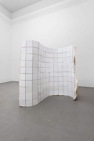 Bettina Buck, Untitled (300 tiles), 2017, tiled canvas coated width latex on one side, 150 cm height, various lenght and depth