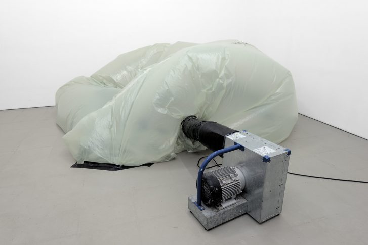 John Reardon, Untitled (Trying harder), 2017, blower, plastic, form inflates and deflates in intervals, various dimensions