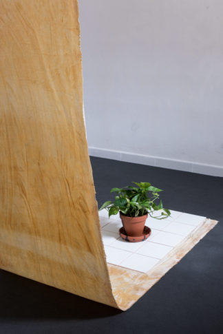 <em>Domestic device</em> (detail), 2017, latex-coated canvas, tiles, plant in partly-glazed pot, 70 cm wide, various height and depth depending on site
