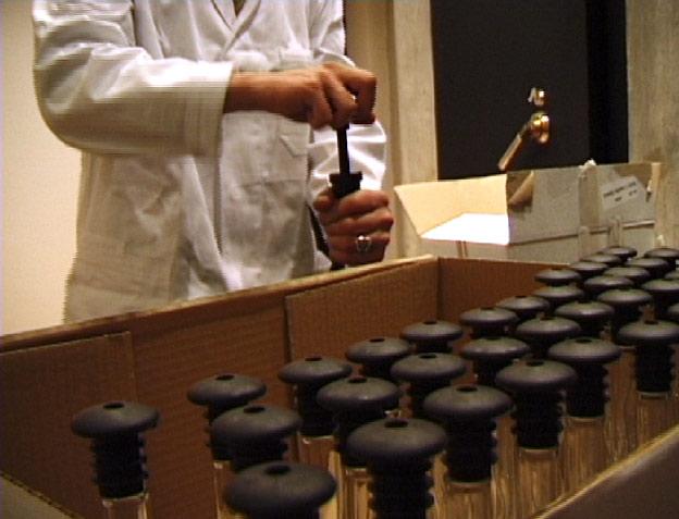 Vakuumisierung der Flaschen vor dem Tresorraum des Beethoven-Archivs