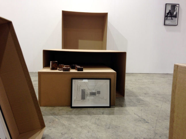 Installation views of <i>Plinth Drawings II</i>, 2014, Cardboard, gum strip tape, hand-welded bronze, framed stacks of photographs and commissioned drawings, installation dimensions variable