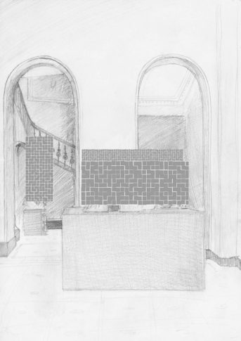 <i>Untitled (Oliver Dorman - 11th of Feb. 2014)</i>,  One of 5 commissioned drawings by artists found sketching in situ during one week of daily visits by Buck to the V&A, London. Each artists was paid a set fee for their time, labour and skill.